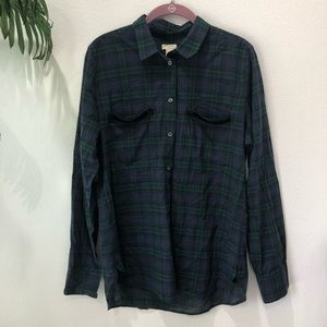 J. Crew Factory Black Watch Button Down